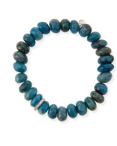 10mm Faceted Blue Chrysocolla Beaded Bracelet with 14k White Gold Diamond ...