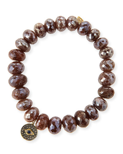 8mm Faceted Brown Silverite Beaded Bracelet with 14k Diamond Evil Eye Disc ...