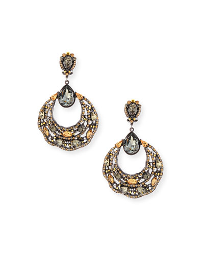 Beaded Filigree Hoop Drop Earrings