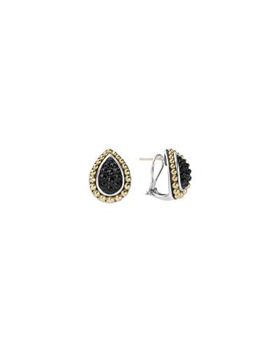 Black Onyx Caviar Pear-Shaped Earrings