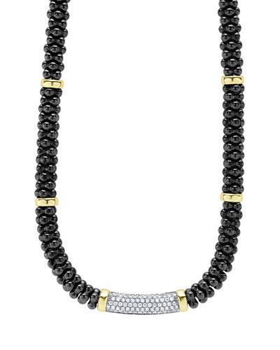 Black Caviar Diamond Station Necklace, 0.83ct.