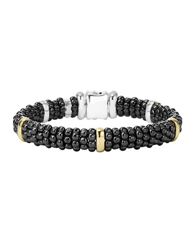 Black Caviar Rope Bracelet with Gold, 9mm