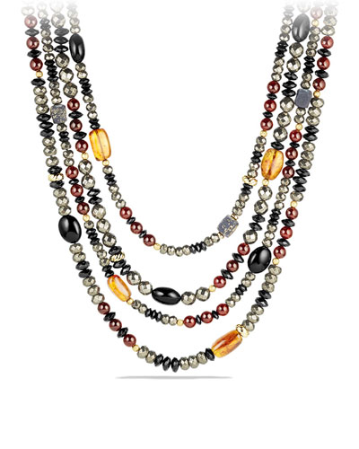 Necklace with Pyrite, Citrine, Black Onyx and Garnet