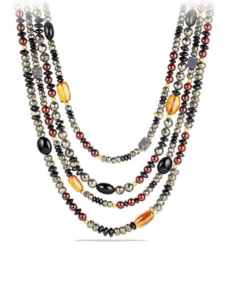 David Yurman Necklace with Pyrite, Citrine, Black Onyx and Garnet