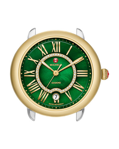 16mm Serein Green Diamond Watch Head, Two-Tone