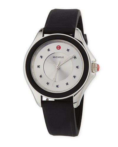 Cape Topaz Watch w/Silicone Strap, Black