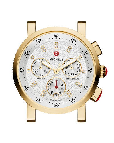 18mm 18K Gold-Plated Sport Sail Diamond-Dial Watch Head