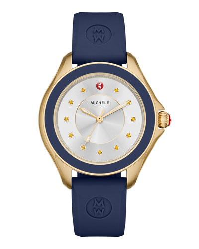 Cape Topaz Watch w/Silicone Strap, Navy