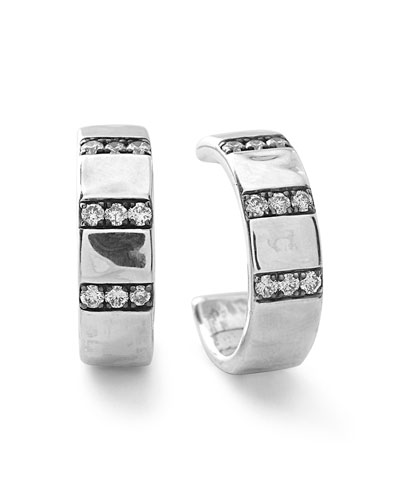 Sterling Silver Senso™ 3-Band Wide Hoops with Diamonds