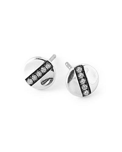 Sterling Silver Senso™ 8mm Station Stud Earrings with Diamonds