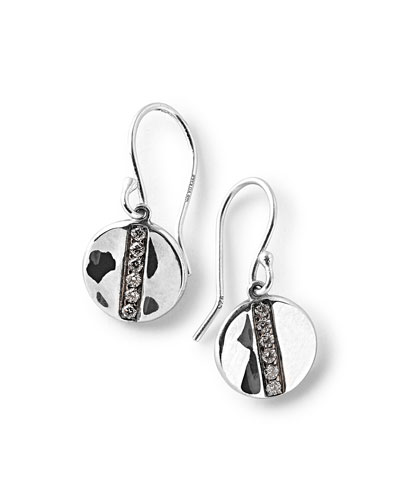Sterling Silver Senso™ Mini Disc Drop Earrings with Diamonds