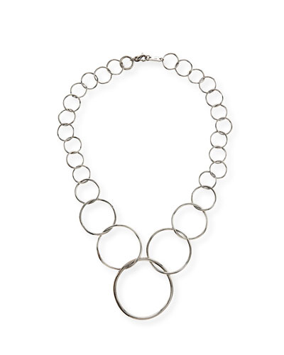 Silver Glamazon Graduated Wavy Circle Necklace