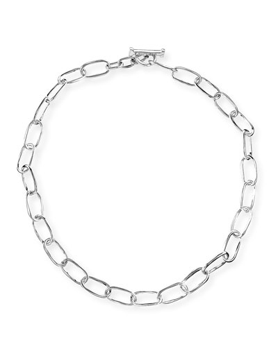 Silver Glamazon Elongated Oval Link Toggle Necklace, 18