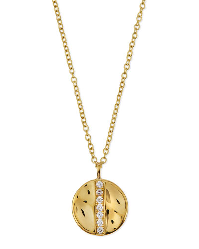 18K Gold Senso™ Medium 15.5mm Disc Pendant Necklace with Diamonds