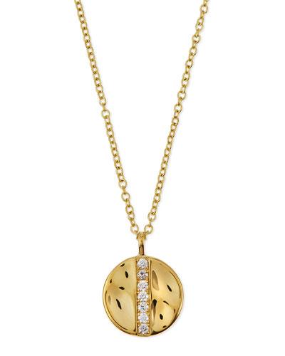 18K Gold Senso™ Medium 15.5mm Disc Pendant Necklace with Diamonds