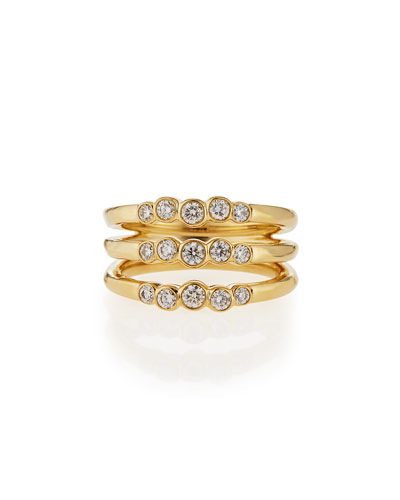 18k Glamazon Stardust Diamond Triple Starlet Ring