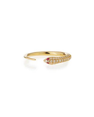 14k Pave Diamond Skinny Snake Ring
