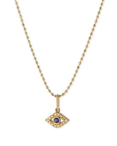 14k Gold Tiny Evil Eye Charm Necklace