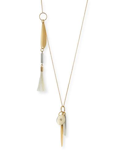 Asymmetric Brass Pendant Necklace, 30