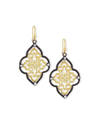 Old World Scroll Earrings with Diamonds