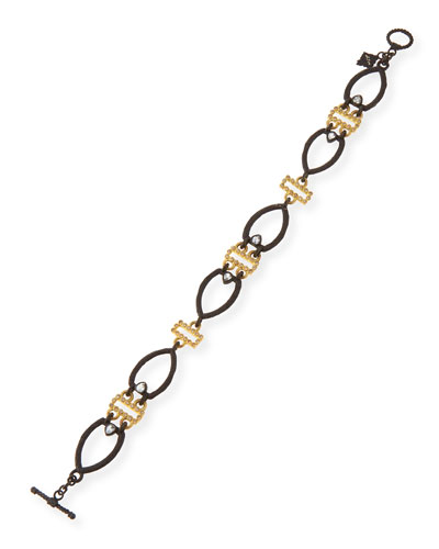 Open Shield Link Bracelet with Diamonds