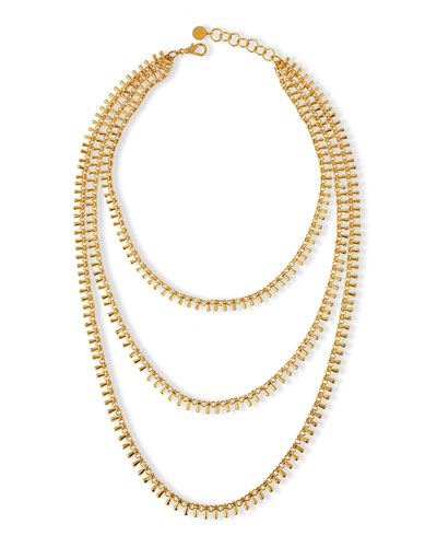 Gold-Plated Chain Triple Strand Necklace