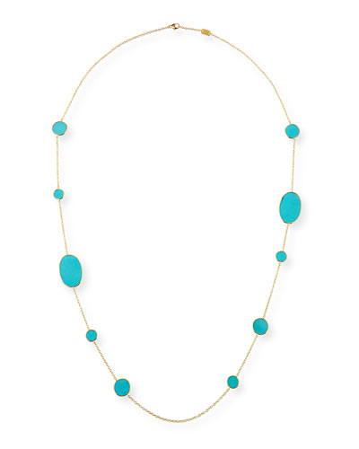 18k Rock Candy Turquoise Station Necklace, 37