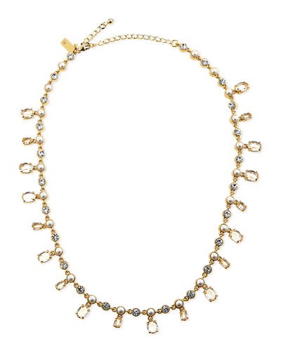 pearly crystal-drop necklace