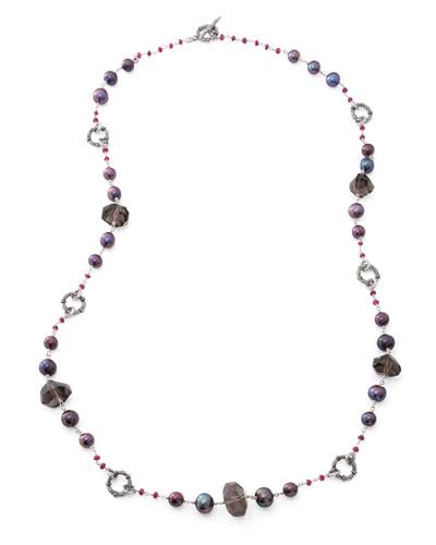 Verona Long Quartz/Pearl Necklace, 39