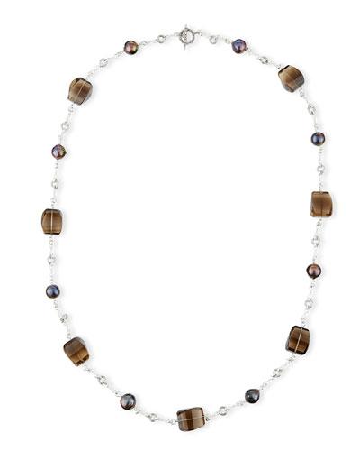 Verona Twisted Quartz & Pearl Necklace, 40