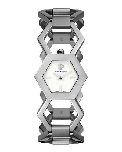 Amelia Silvertone Hexagon-Link Bracelet Watch