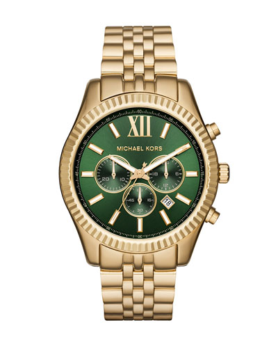 44mm Lexington Bracelet Watch, Golden/Green