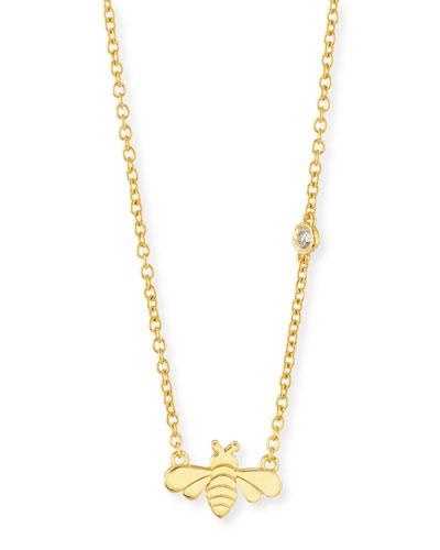 Bee Bezel-Diamond Pendant Necklace
