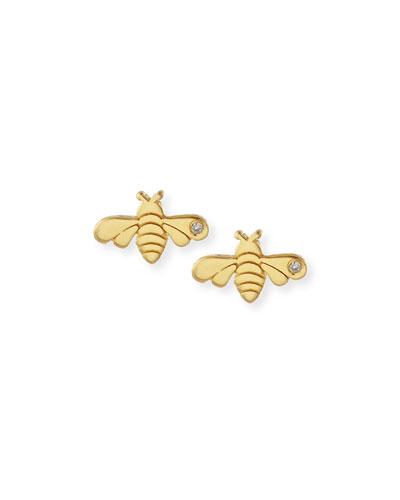 Bee Bezel-Diamond Stud Earrings