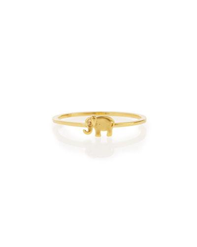 Bezel Diamond Elephant Ring, Yellow Gold Plate