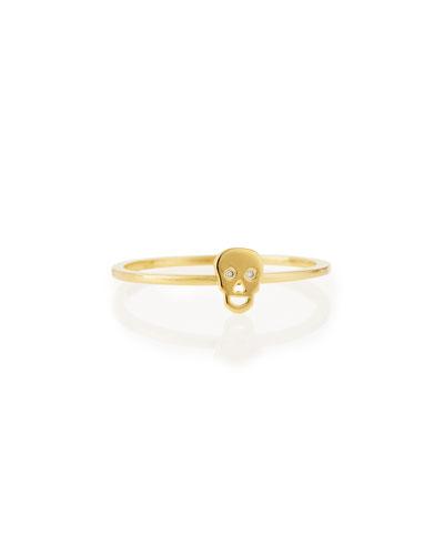Bezel Diamond Skull Ring, Yellow Gold Plate