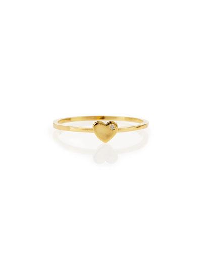 Bezel Diamond Heart Ring, Yellow Gold Plate