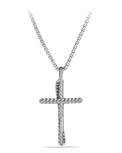 Cross Crossover Diamond Pendant Necklace in Silver