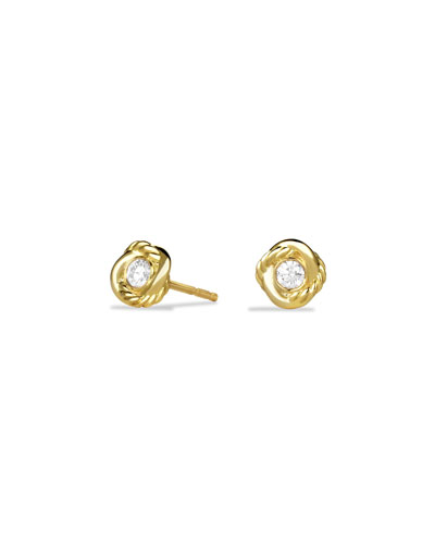 18K Gold Infinity Diamond Stud Earrings