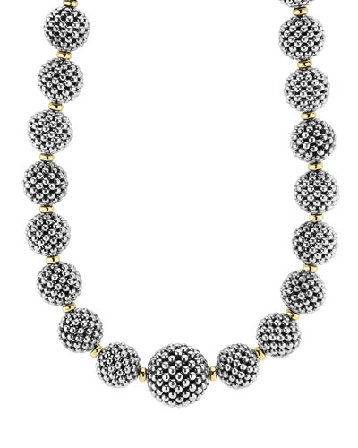 Sterling Silver Caviar Lattice Ball Necklace, 17