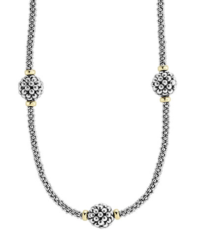 10mm Caviar Lattice Station Necklace, 16