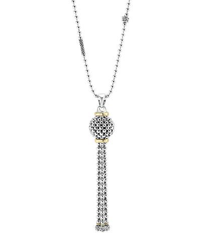 Sterling Silver Caviar Tassel Necklace