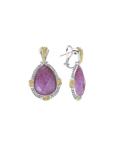 18K Gala Caviar Charoite Drop Earrings