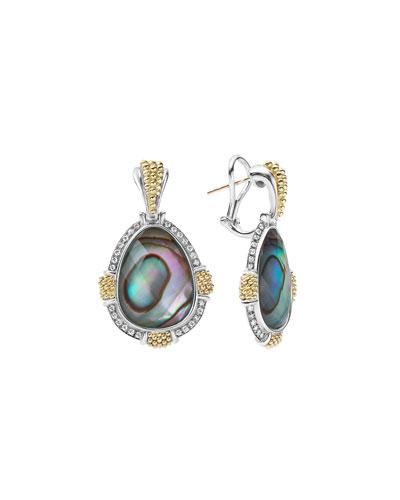 18K Gala Caviar Abalone Drop Earrings