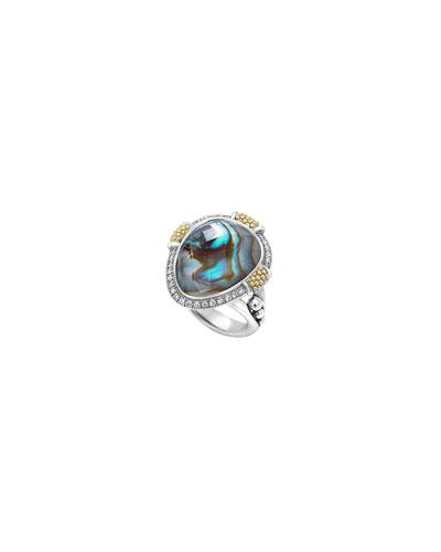 Gala Caviar Abalone Oblong Ring, Size 7