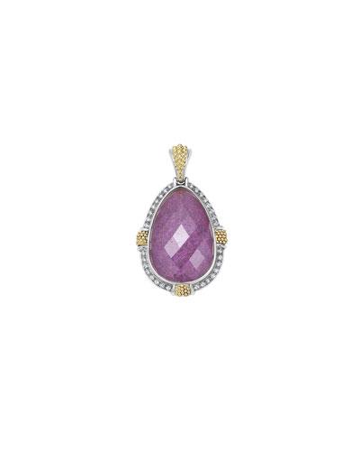 18K Gala Charoite & Diamond Pendant