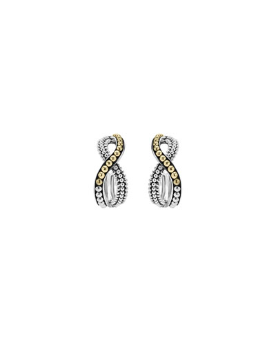 Sterling Silver & 18K Infinity Twist Hoop Earrings