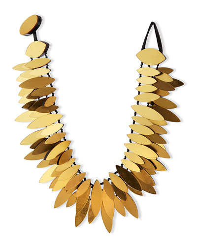 Gold Foil Layered Petal Necklace