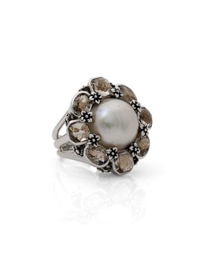 Pearl & Smoky Quartz Floral Ring