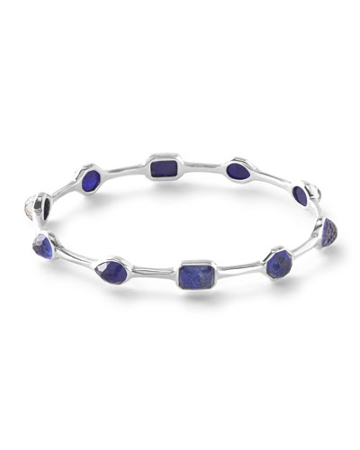 925 Rock Candy Lapis Doublet Oval Bangle Bracelet